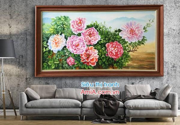 Tranh đẹp hoa mẫu đơn 8 bông