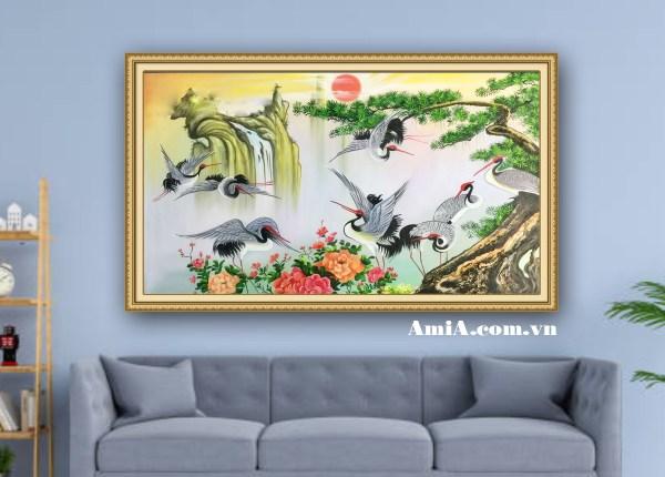 Tranh chim Hạc và hoa mẫu đơn đẹp