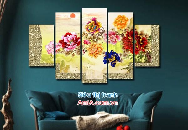 Tranh đẹp vẽ hoa mẫu đơn 8 bông