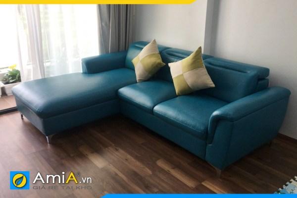 ghe sofa da mau xanh tre trung cho nha chung cu amia sfd3120