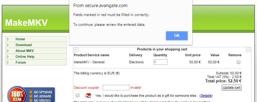 makemkv discount coupon error