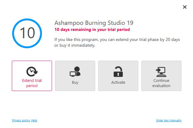 Ashampoo Burning Studio 19 Extend Trial Period