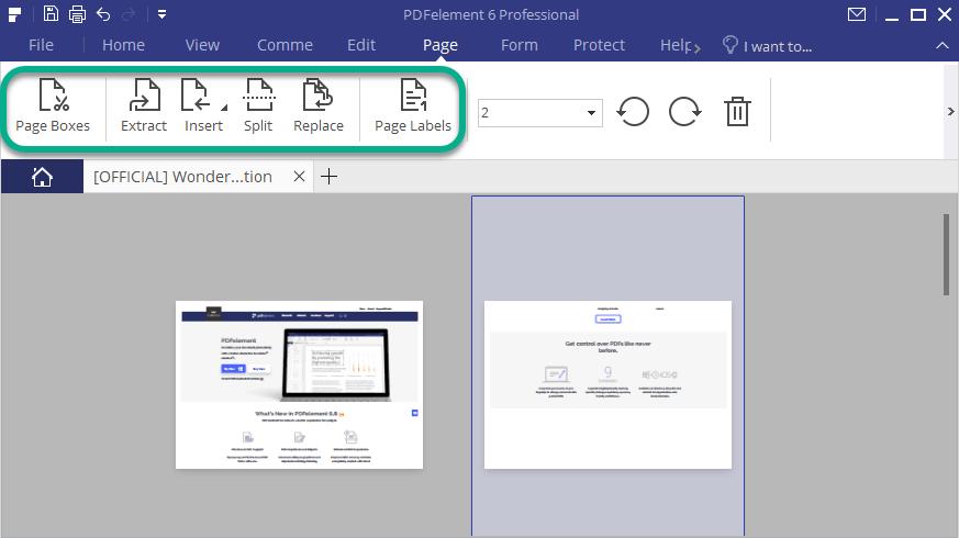 PDFelement Page manipulation