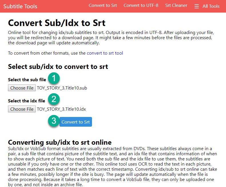 Convert Idx/Sub to SRT
