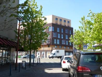 Pantin, vue sur le quartier des Grans Moulins depuis la rue de la gare