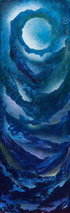 """A Lunar Lullaby To Ebb And Flow To"" 45"" x 15"" #1312 acrylic on canvas"