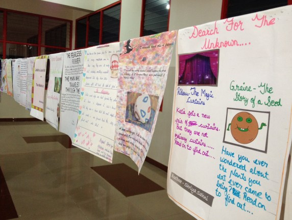 Marketing flyers designed by the students promoting their books.