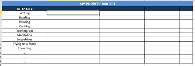 life purpose matrix, interests, hobbies, my spiritual shenanigans