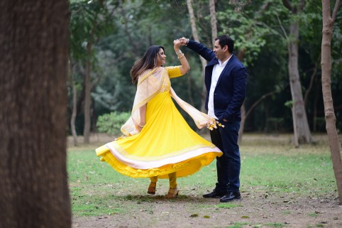 twirl, happy couple, pre-wedding shoot, couple shoot, honeymoon, romance, body positive, indian dress, makeup,