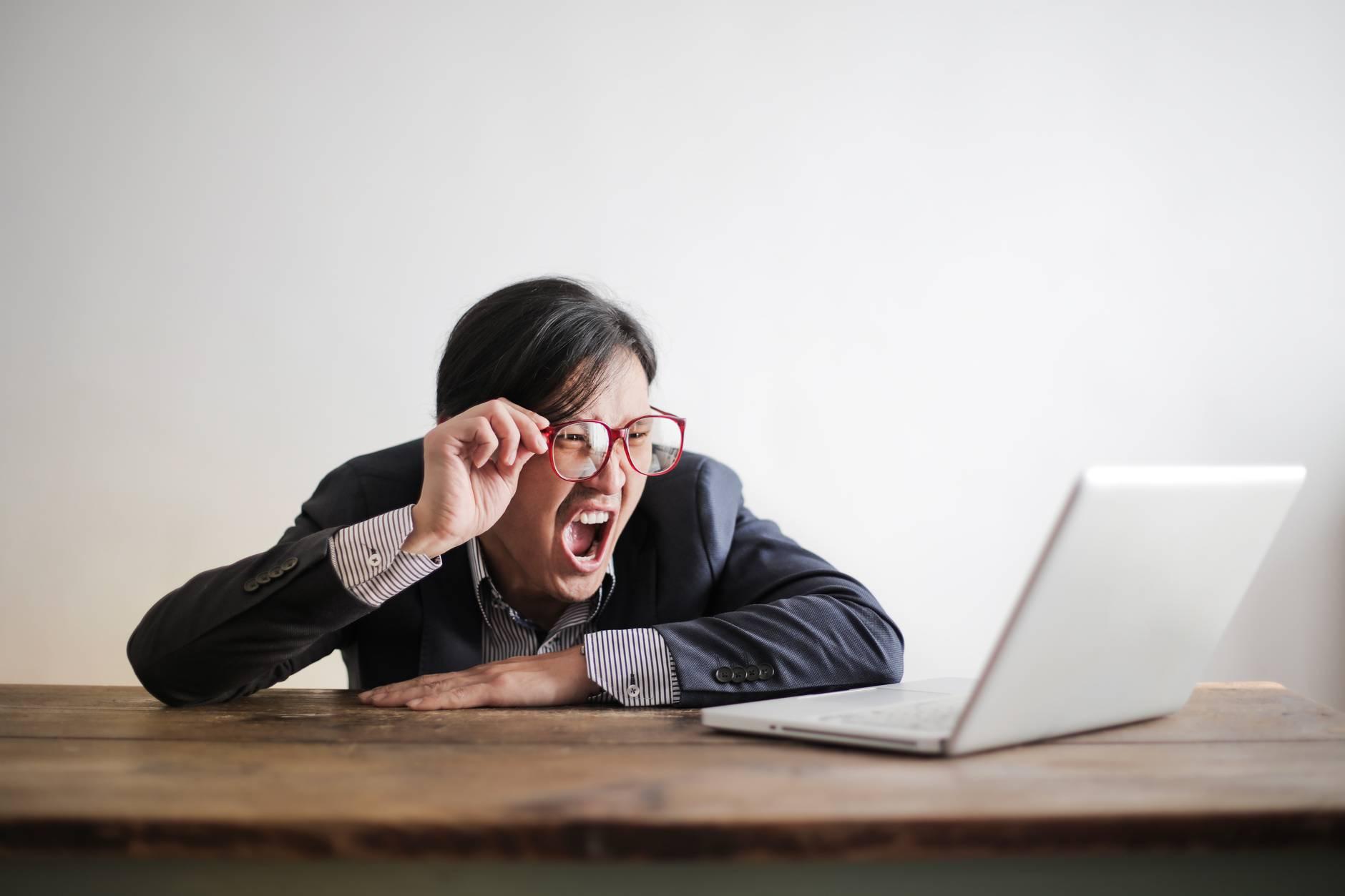 workaholism, shocked, surprised, working hard, laptop