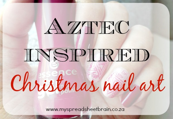 Aztec inspired Christmas nail art
