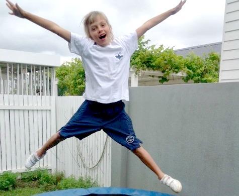 Katie on trampoline