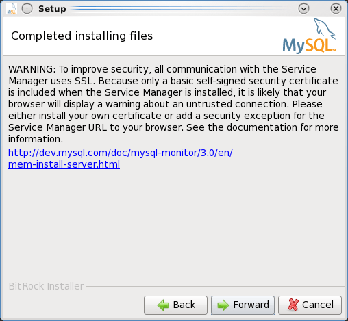 Installing the MEM 3.0 Service Manager - Step 12: Information that MEM is using SSL with a self-signed certificate by default