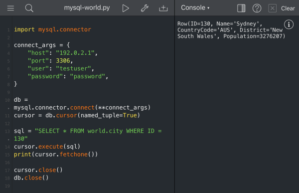 Example of querying the world.city table using MySQL Connector/Python in Pythonista 3.