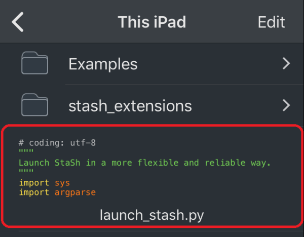 The launch_stash.py Script in This iPad
