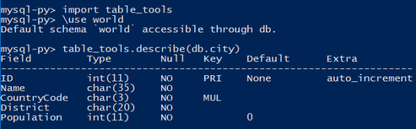 Using the custom table_tools module in MySQL Shell.