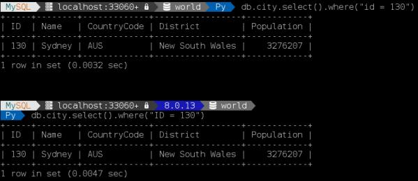 MySQL Shell 8.0.13: Comparing single and multi line prompts