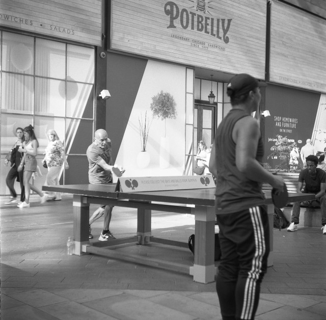 yashica 44 tlr rerapan 100 bellini hydrofen london olympic stadium 127 format film black white table tennis westfield shopping centre