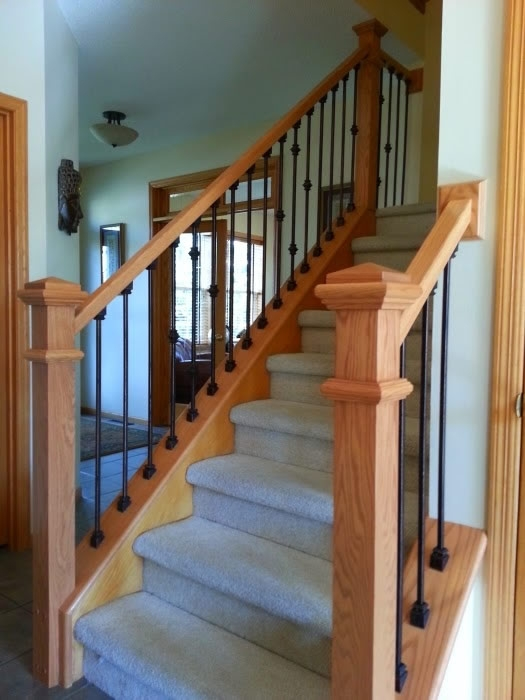 Oak And Iron Spindles Mystairways   Spindle Stairs Railings   Stair Treads   Wood   Stair Parts   Iron Stair   Espresso
