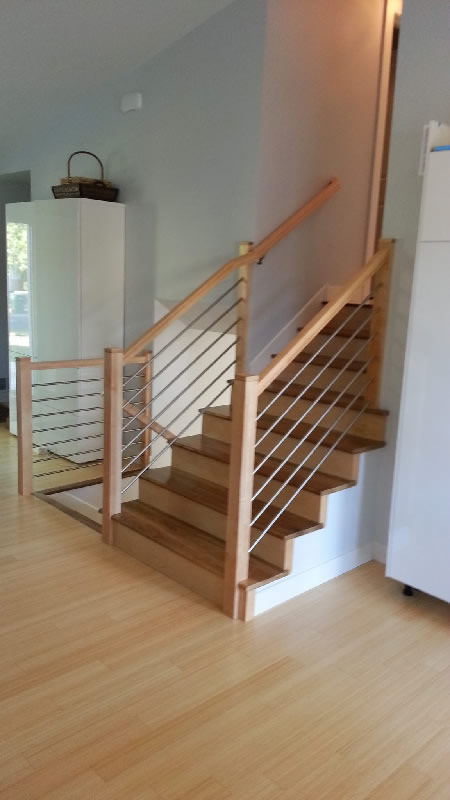 Maple Railing With Stainless Tubing MyStairways