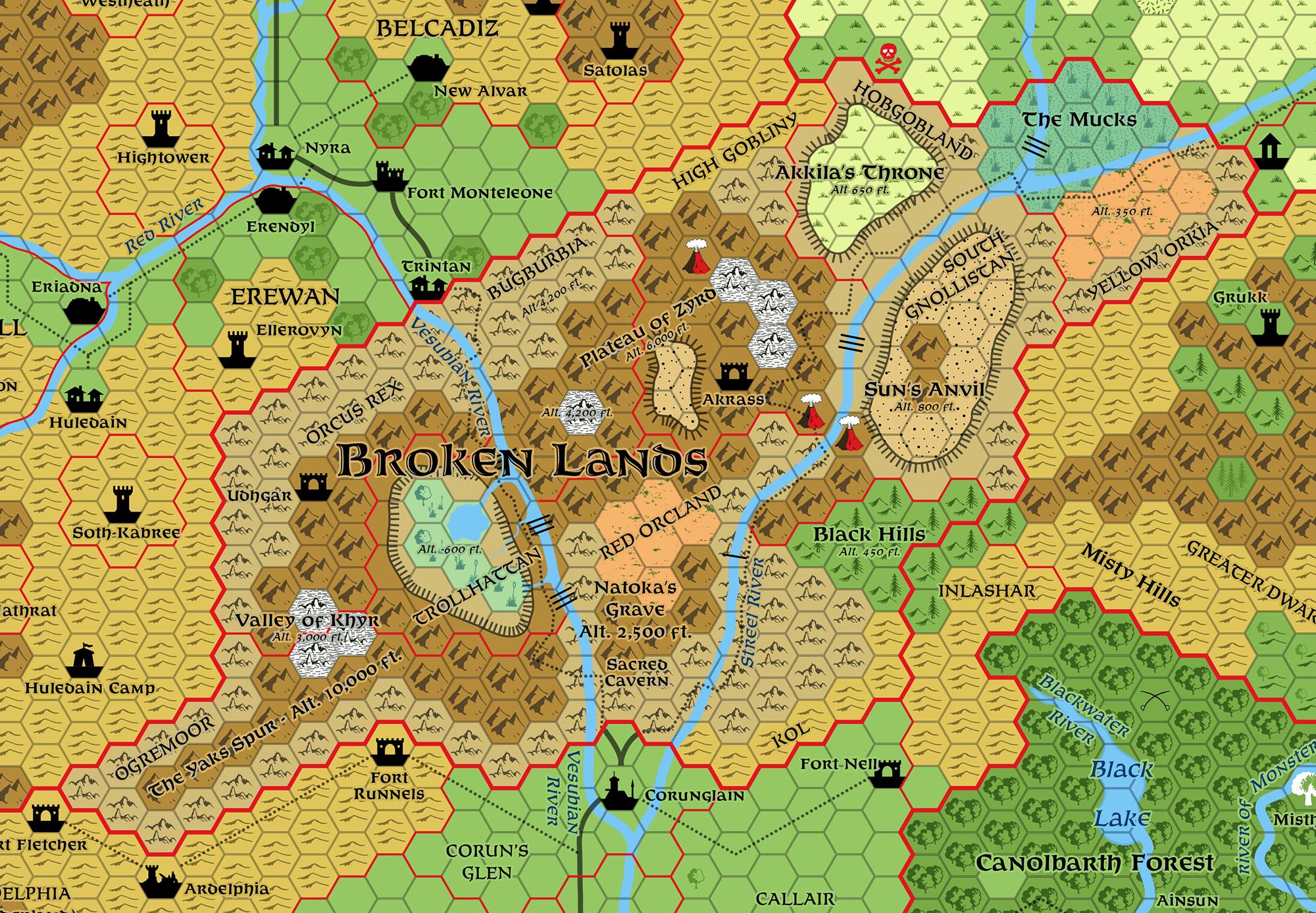 Broken Lands, 8 miles per hex