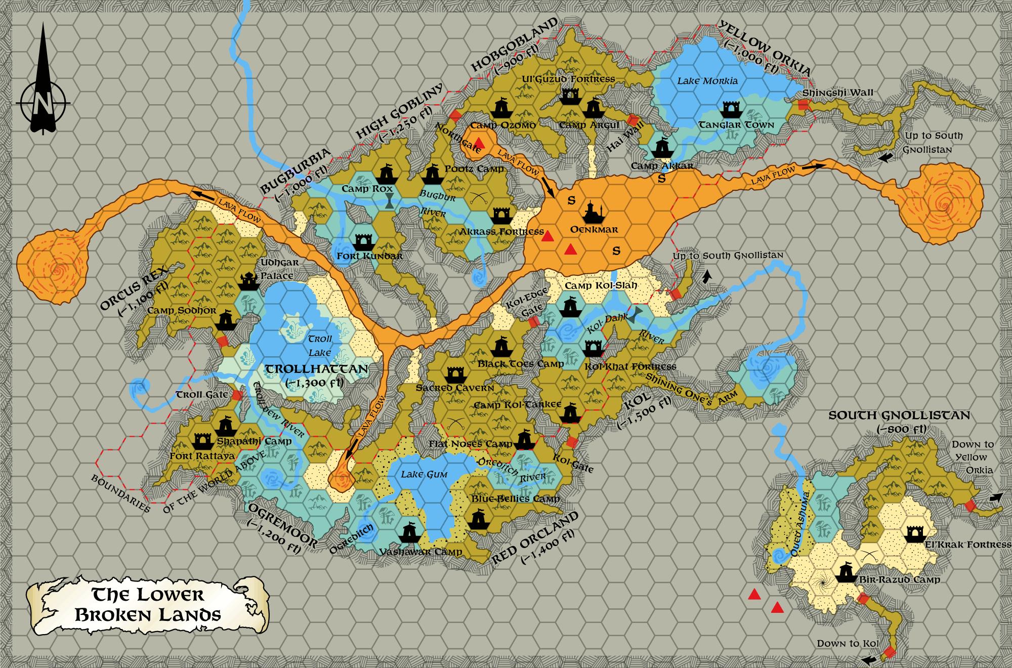 Lower Broken Lands, 8 miles per hex