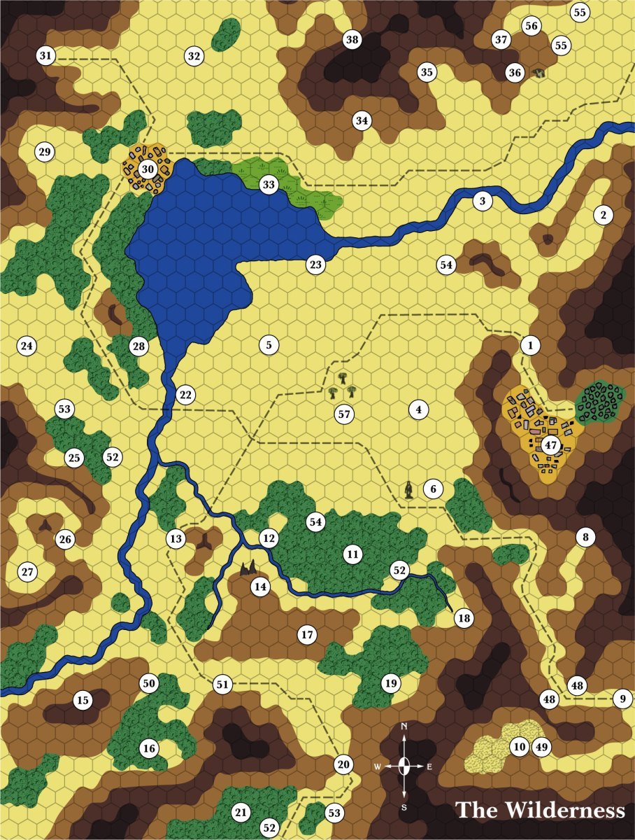 CM5 The Wilderness, 1/6 mile per hex