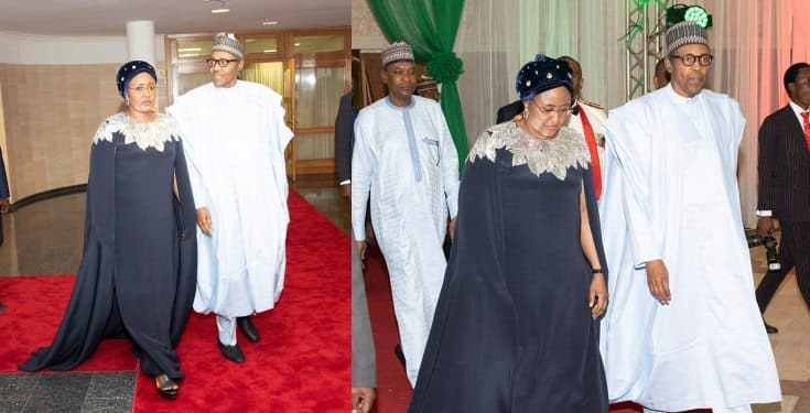 Aisha Buhari rocked $2,145 Oscar De LaRenta cape dress