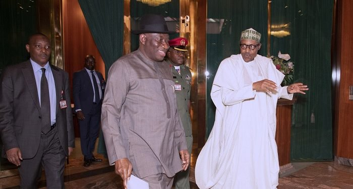 President Muhammadu Buhari on Thursday met behind closed doors with the immediate past President Goodluck Jonathan.