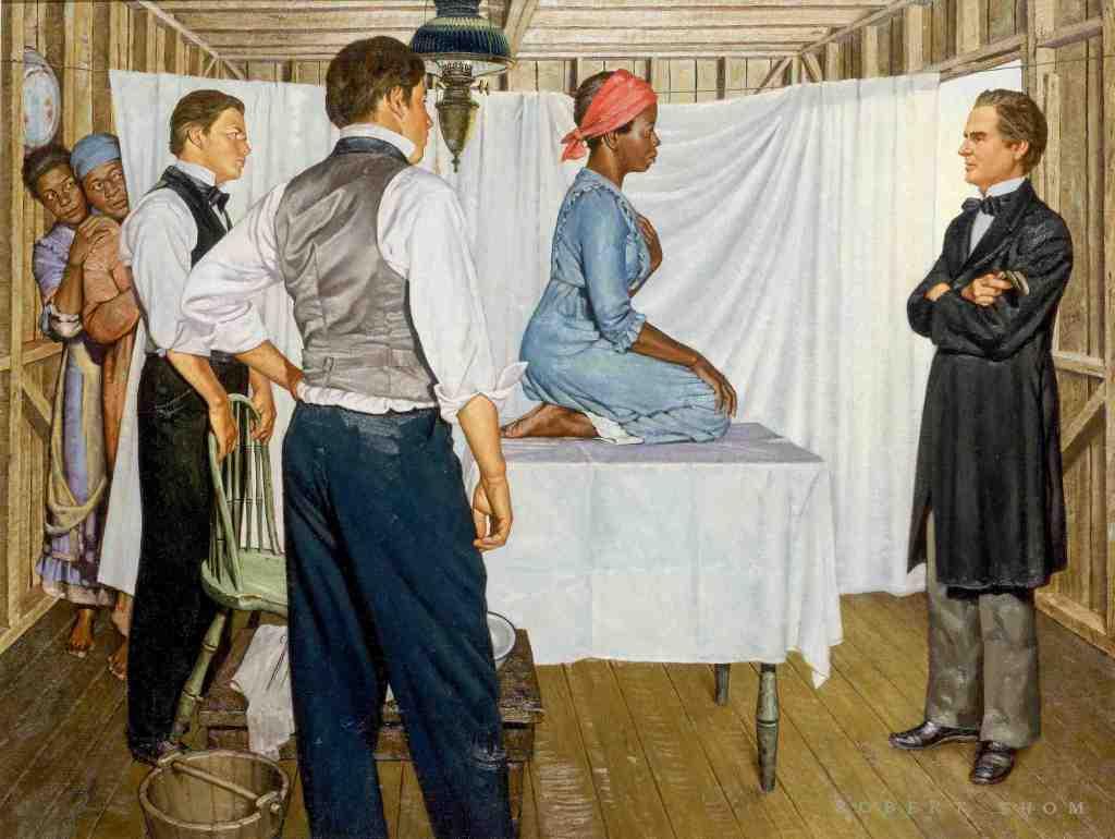 Cette peinture de Robert Thom, qui fait partie de la série Great Moments in Medicine, est la seule représentation connue de Lucy, Anarcha et Betsey, les trois femmes asservies que Sims a opérées.