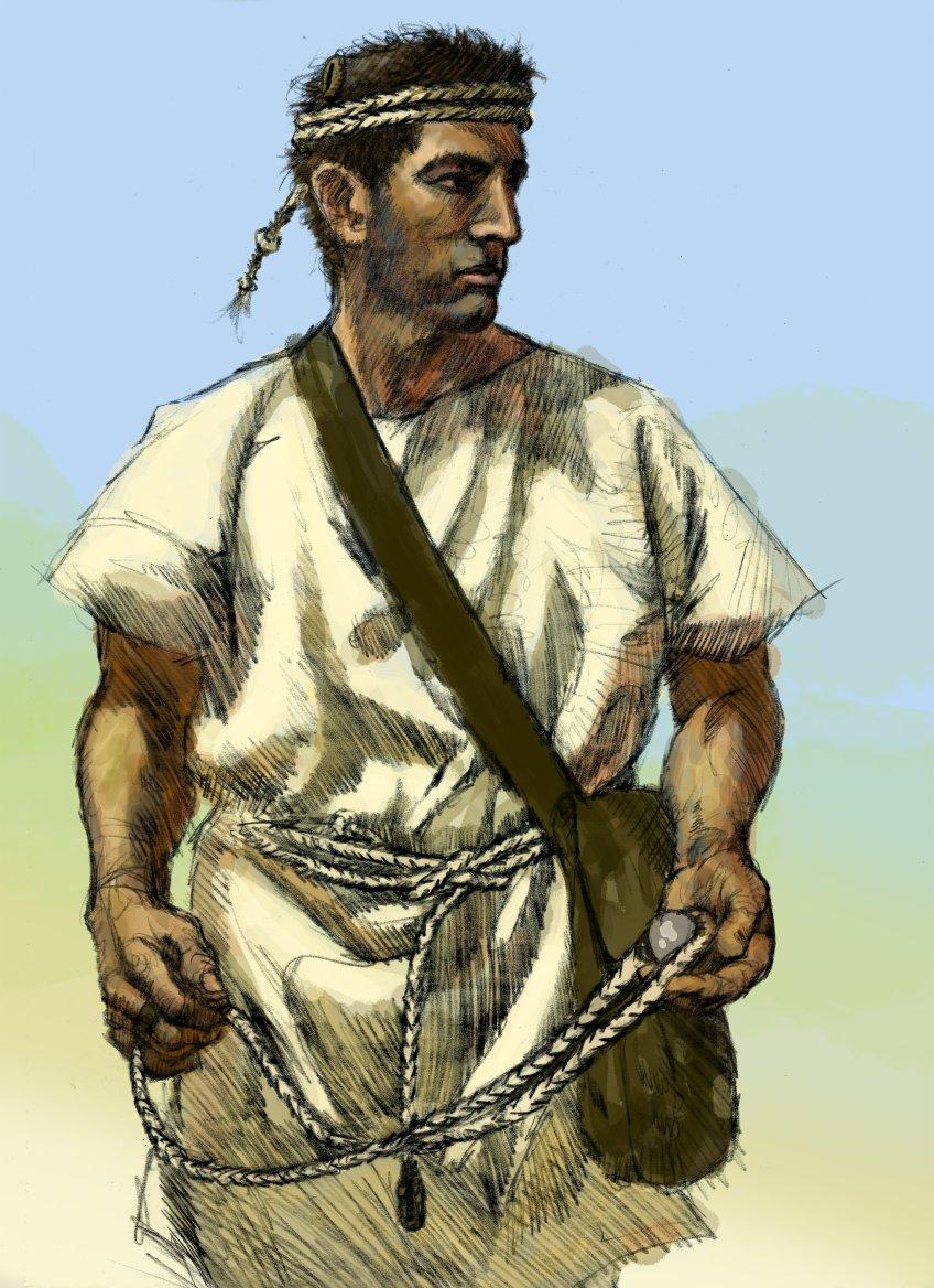 Bản vẽ của một chiếc xích lô Balearic. Anh ta đeo một chiếc địu dự phòng làm băng đô và một túi tên lửa.