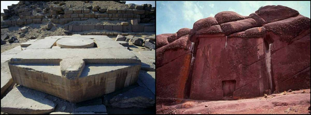 Абу Гураб в Египте (слева) и Пуэрта де Хаю Марка в Перу (справа)