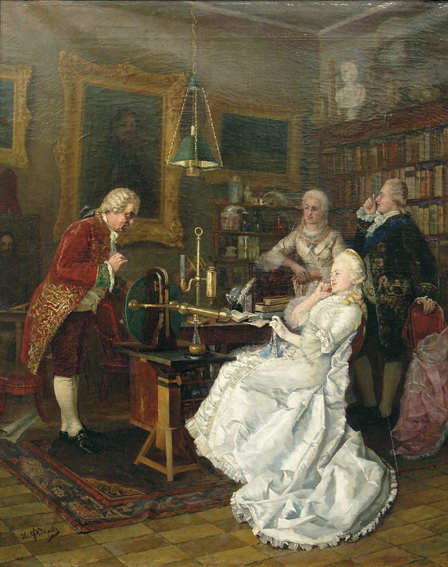 Catherine II of Russia visits Mikhail Lomonosov in 1764. 1884 painting by Ivan Feodorov