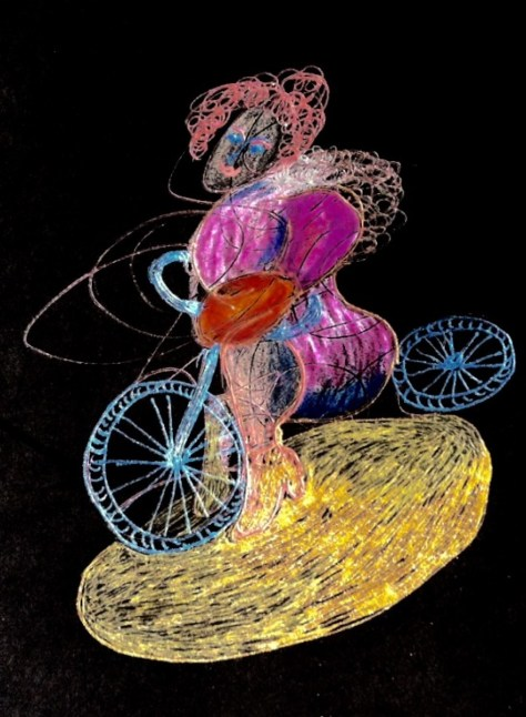 """Time Traveling on a Magical Bike"" by Cheryl Renee Long, Prismacolor"