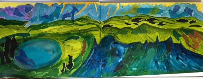 This is an overview of my current art journal page. It's a landscape-oriented big watercolor Moleskine book.