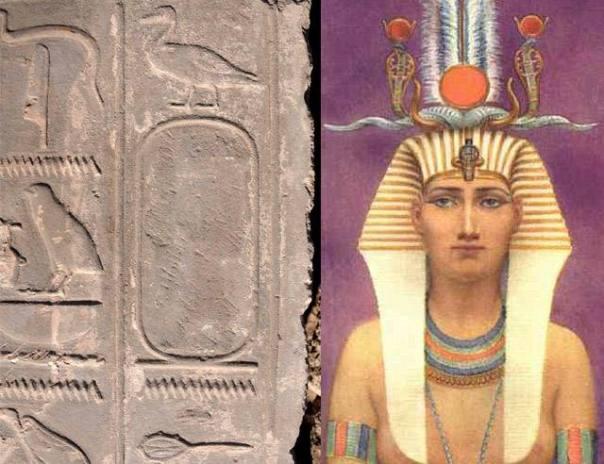 A la izquierda se observa un cartucho con el nombre de la reina (derecha) borrado.