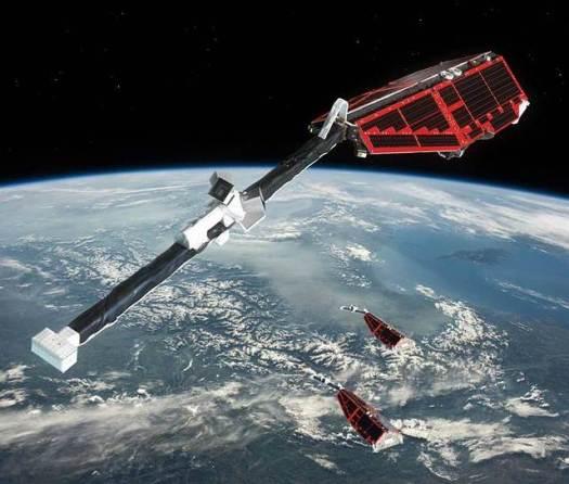 Satélites Swarm de la ESA. Su función es analizar el campo magnético en el interior de la Tierra.