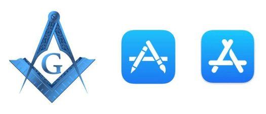 Simbolo masón (izquierda), ícono de Apple Store antiguo (centro), ícono de Apple Store actual (derecha).