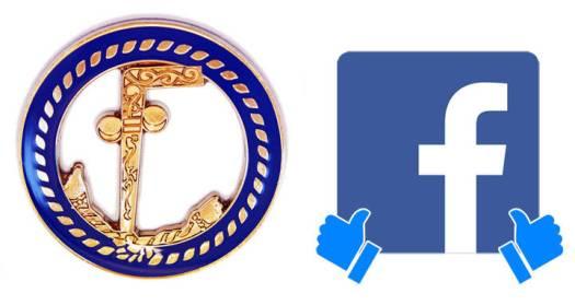 Izquierda: Símbolo 'Two Ball Cain'. Derecha: Isotipo de Facebook más el icono de 'Me gusta'.
