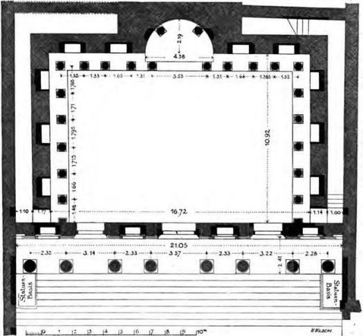 Planta de la biblioteca de Éfeso, en la actual Turquía, con sus nichos dispuestos en los muros interiores y en intervalos regulares y con un ábside central. Los nichos servían para la recepción de los pergaminos y el ábside alojaba una estatua.