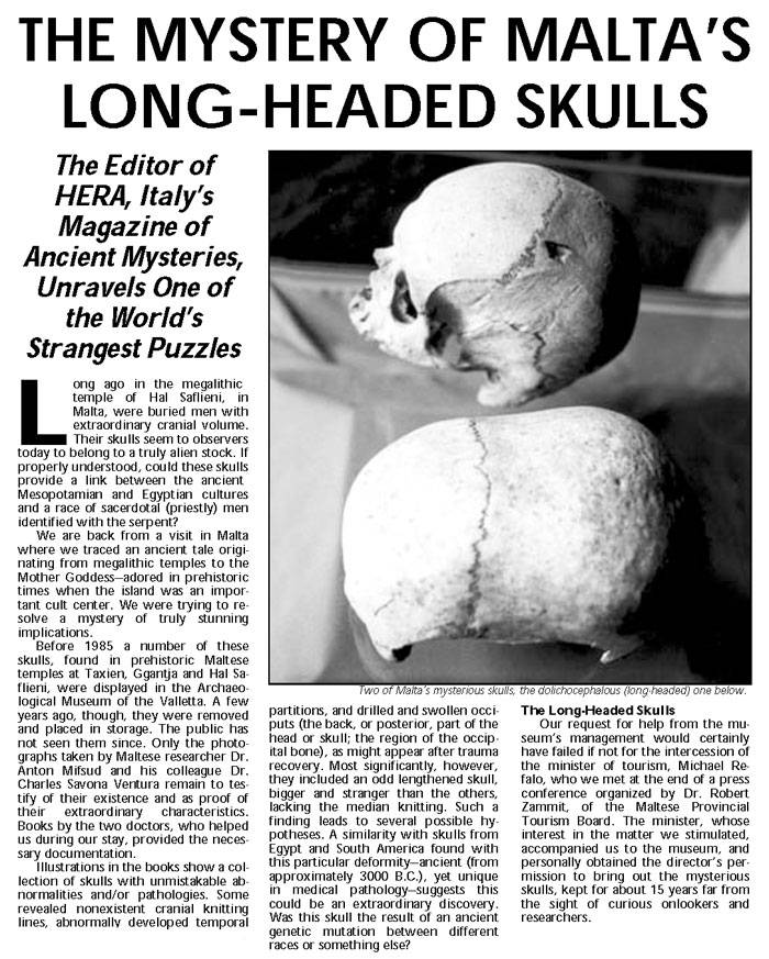 Old note on the mystery of elongated skulls in Malta. aliens in Malta