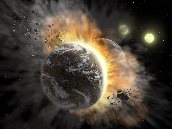 collision of two exoplanets