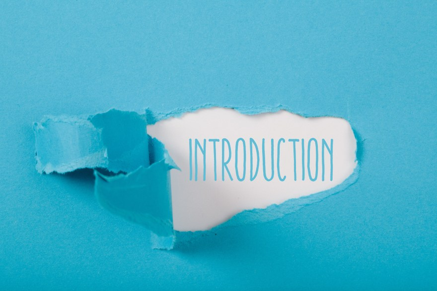 Introduction message on Paper torn ripped opening