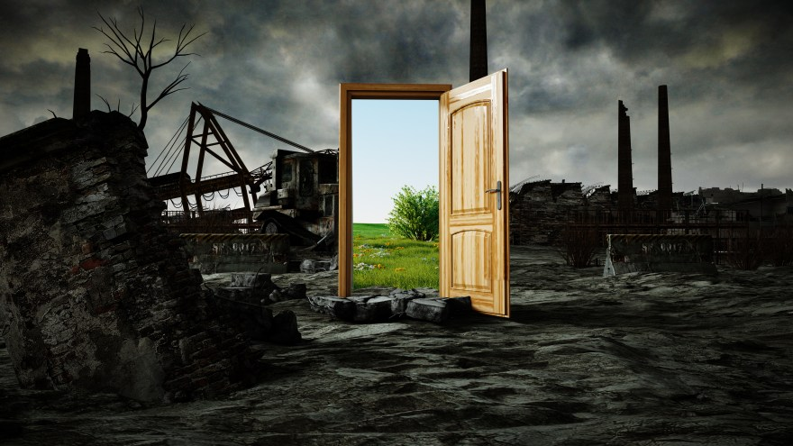 opened door. A portal between nature and ecological catastrophe, apocalypse. 3d rendering.