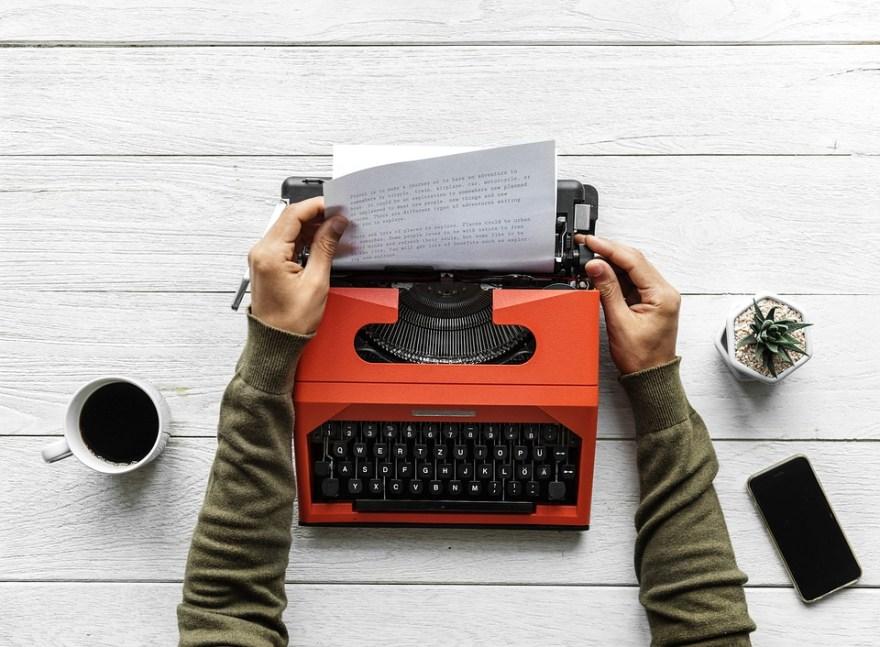 typewriter writing
