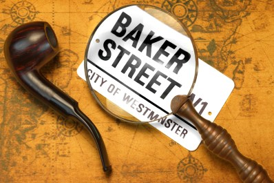 Sign BAKER STREET, Smoking Pipe, Magnifier On The OLD Map