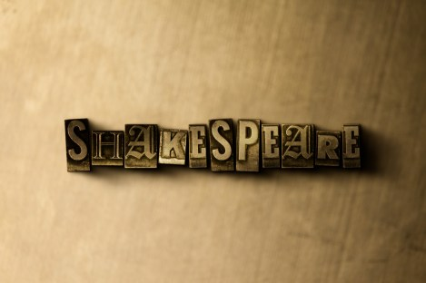 SHAKESPEARE - close-up of grungy vintage typeset word on metal backdrop