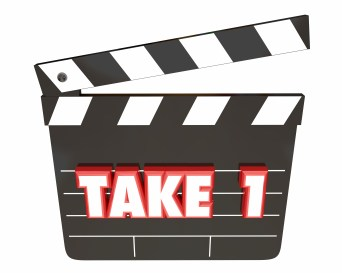 Take 1 One First Attempt Try Scene Movie Clapper Board 3d Illust