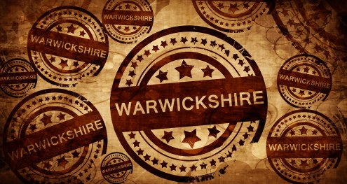 Warwickshire, vintage stamp on paper background