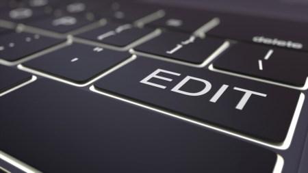 Black luminous computer keyboard and edit key. Conceptual 3D rendering